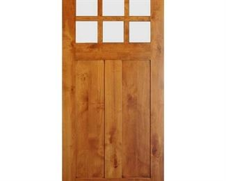 36 in. x 80 in. Craftsman 2-Panel 6-Lite Clear Low-E Knotty Alder Unfinished Wood Front Door Slab