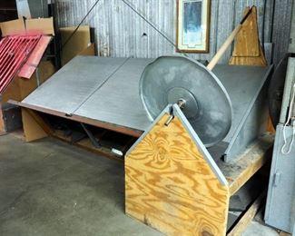 "Custom Made Raw Material Drafting Table, 74"" x 139"" x 60"""