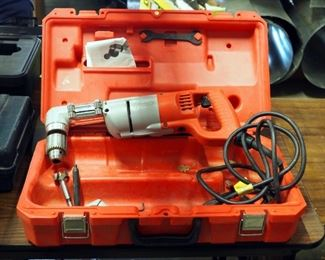 """Milwaukee Electric Right Angle Drill, 1/2"""" Drive With Molded Plastic Carrying Case"""