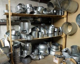Galvanized Steel Pipe Fittings, Assorted Sizes, Contents Of 2 Shelves And Floor
