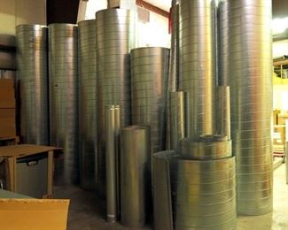 Spiral Duct Air Pipe, Assorted Sizes And Lengths, 5 And 10 Ft High, Approx Qty 25