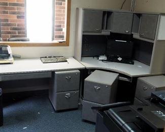 "6 Piece Office Desk Set W/Corner Desk 30"" x 46"" x 108"", Work Table, Countertop Storage Cabinet & 2 Drawer Filing Cabinets"