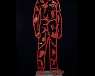 """Rhonda Roland Shearer    Anthropocentrism Study #8    Commissioned from Wildenstein & Co Gallery NY, NY                                                       1991                                                                                                         52"""" x 17"""" x 6"""" base 25""""x 16"""" x 8"""" blue red patina $5,000.00 firm"""
