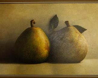 """James Del Grosso    """"Pears""""     Oil on canvas   1991 32"""" x 54""""    $16,000.00 firm"""