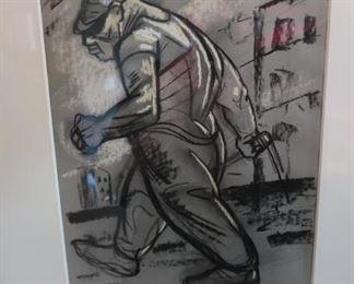 "Peter Howson    ""Hyper""    1991 Chalk on Paper 22.44"" x 18.5"" $9,000.00 firm"