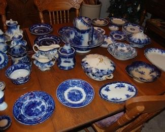 antique Real flow blue china