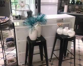 Main Floor Kitchen Area: Pic 1 of 3 of a VERY Functional Island, bar stools, misc home decor