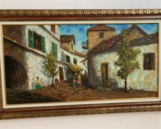 large vintage oil painting