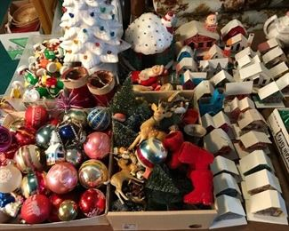 Lots of vintage Christmas ornaments decorations; collection of vintage Putz houses, both cardboard and plastic.