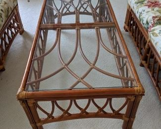 $50  Glass top rattan cocktail table