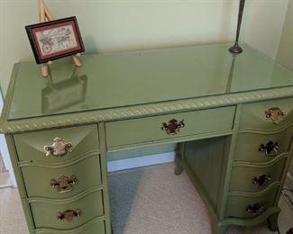 $75  Painted green desk or vanity