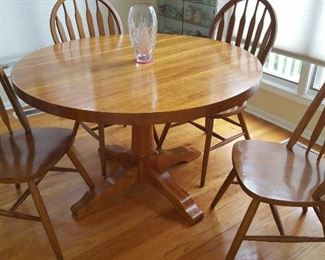 $200  Round oak table   $80   Wood chairs