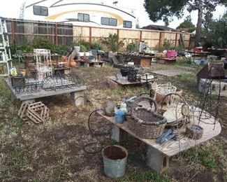 Garden Trellises,topiary forms,window boxes ,plant stands,tools