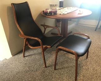 Danish modern lounge chair & ottoman by Swedese