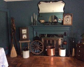 Beautiful mirror, vintage clocks, crocks, hall tree