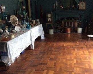Antique glassware, beautiful mirror, clocks
