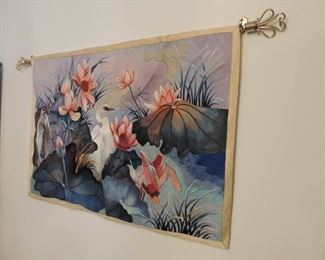 silk tapestry with rod
