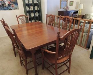 Vintage Seely table with leaves and six chairs