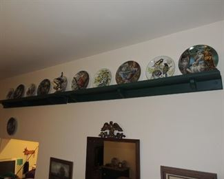wood shelving  and plate collection