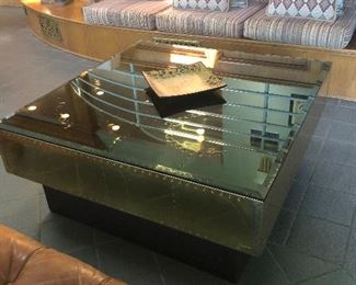 Beatuful, large contemporary brass & glass coffee table.