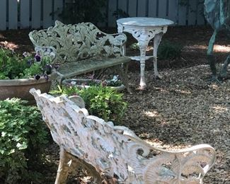 Iron benches and tables to match.