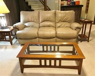 Leather Sofa Double End Recliner