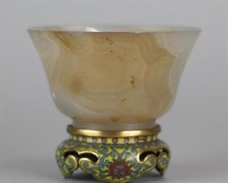 Chinese agate cup on gilded cloisonne base; possibly Republican period; overall: 3in(L) x  2.5in(H)