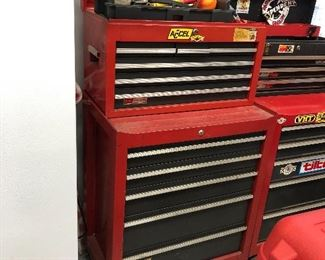 Several chest on chest tool boxes