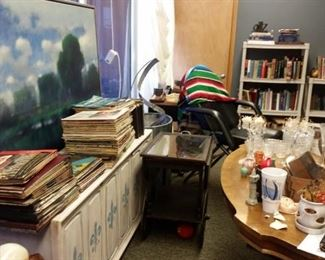 books! records! Mexican blanket, barber shop chair, bar cart