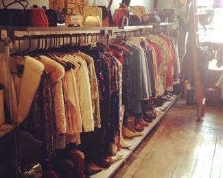 vintage separates, purses, and shoes