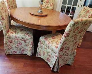 58 INCH PINE TABLE WITH CHAIRS 450.00
