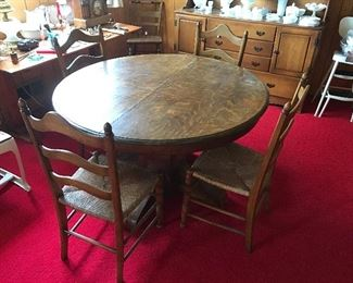 Tiger oak table and rush bottom chairs