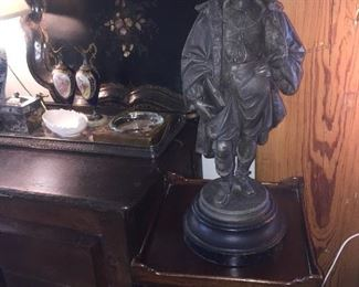 a 19th century metal statue and notice the glorious large painted tray--several are available