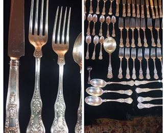 English sterling set in Kings Pattern-102 ounces of sterling