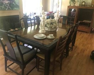"Asian Influenced Thomasville Dining Table with 6 chairs; 2 leaves; pads    78""L x 46""W x 31""H.  Two additional 18"" leaves."