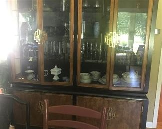 "Asian Influenced Thomasville China Cabinet 71""L x 16""D x 83""H  Lighting throughout."
