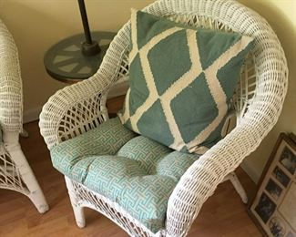 Wicker furniture set - 2 chairs, table and couch with cushions and pillows