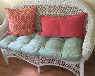 Wicker furniture set - couch with cushions and pillows like new, barely used.