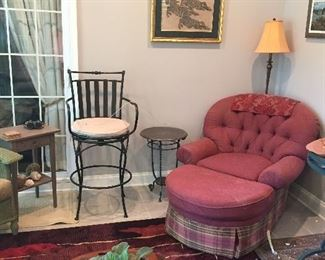 Bar Height stool (2) and Upholstered chair with ottoman