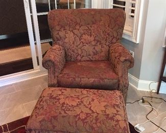 Upholstered Arm Chair and Ottoman