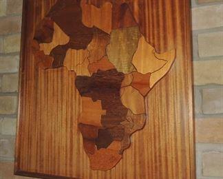 Framed wood carved map of Africa