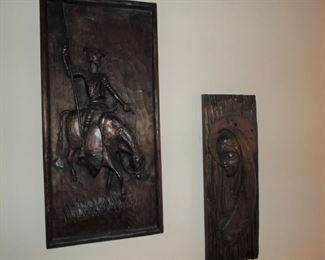 Carved wood decor from Africa.  Don Quixote and Madonna