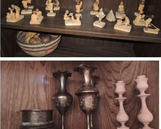 African Carved figurines and candle sticks.  Brass from Egypt