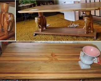 African Carved Coffee Table - elephant base - Star inlaid on top