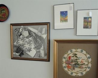 Framed art, original pottery, lithographs, sketches, watercolors, embroidery. Patricia Wyatt prints