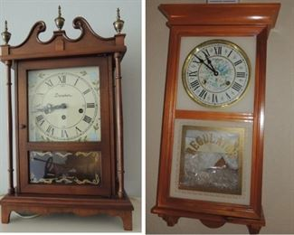 Clocks: Waltham Regulator wall, Danehur mantle, Howard Miller mantle
