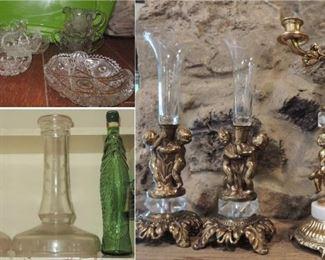 Crystal and gold cherub candelabra and vase set, antique crystal displays, American Brilliant cut glass