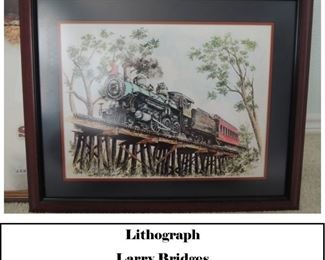 Larry Bridges Train lithograph