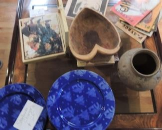 Carved bowls, old Playboy, Starbucks Chargers
