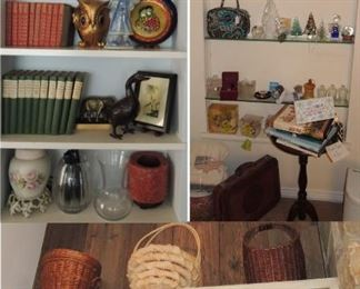 Books, baskets, crystal, glass, candles